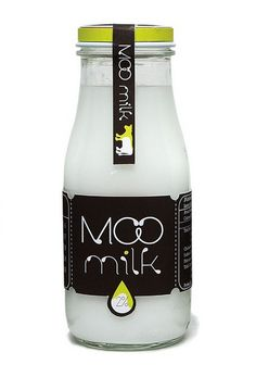 MOO milk.  I love the simplicity of this packaging and the little cow on the tab label. PD