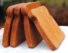 Wood Toy Food: Four Slices of Hardwood Oak Pretend Bread. $36,00, via Etsy.