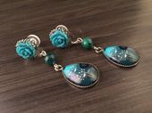 Turquoise Dangle Plugs 2g 4g 6g Rose Ear Plugs Blue Dangly Gauged Earrings Teardrop Plugs For Stretched Ear PiercingsPost Stud Earrings