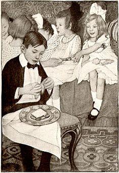 Sarah S. Stilwell, vintage art of children at party, 1904