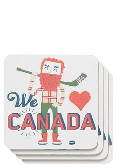 Smile inducingly fun Canada, eh! Coasters available from Dress 911. #Canada #Canadian #coasters #illustrations