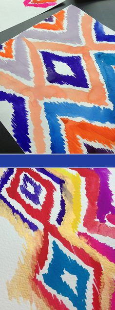 Inspired by last year's Moroccan travels, I have been painting a lot of brightly colored Ikats....