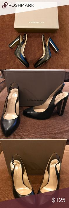 BCBGMaxazrua Black Goat Leather Metal Accent Heel BCBGMaxazria Black Goat Leather Bronze Accent Heel. Made in Italy. New in Box. Never worn. Price is firm. Please no low ball offers. BCBGMaxAzria Shoes Heels