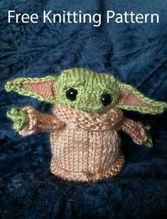 Free Knitting Pattern for The Child Baby Yoda Toy Amigurumi - Inspired by the Star Wars The Mandalorian baby alien. Designed by Angela Foltz. Toys Patterns ravelry Free Knitting Pattern for Baby Yoda The Child Toy Amigurumi Baby Knitting Patterns, Baby Patterns, Free Knitting, Crochet Patterns, Beginner Knitting, Knitted Animals, Knitted Hats, Baby Toys, Kids Toys