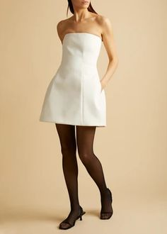 The Callen Dress in Ivory – KHAITE White Strapless Dress, White Dress, Short Dresses, Formal Dresses, Feminine, Ivory, Model, How To Wear, Outfits