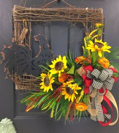"""This wreath has the rustic/farmhouse look. Features a rooster with sun flowers and topped off with a beautiful multi-colored bow. This Rustic Rooster Wreath would be beautiful on your door but equally beautiful used inside of your home. - Constructed on a 24"""" square grapevine wreath. Country Wreaths, Country Decor, Outdoor Wreaths, Wreath Crafts, Diy Wreath, Wreath Ideas, Wreaths For Front Door, Mesh Wreaths, Summer Wreath"""