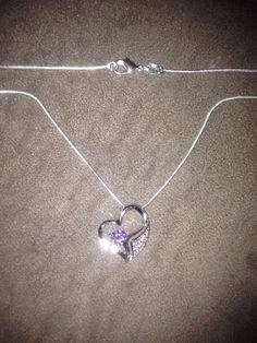 "Sterling Heart Pendant 1 Purple & 9 Clear Gems 16"" Snake Necklace Valentines  #Unbranded #Pendant"