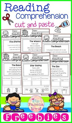 Free Reading Comprehension Cut and Paste March has 10 pages of reading comprehension with cut and paste. Children will answer the questions by cut and paste the correct picture into the question columns. First Grade Reading Comprehension, Comprehension Activities, Reading Response, Literacy Activities, Kindergarten Reading Activities, Reading Fluency, Reading Intervention, First Grade Worksheets, Kindergarten Worksheets