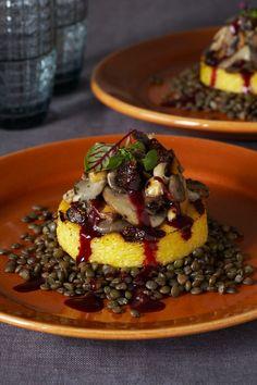 #Vegan Polenta with Lentils, Wild Mushrooms, Hazelnuts, and Figs