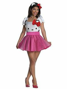 SEXY WOMENS HELLO KITTY TUTU DRESS COSTUME Could definitely use a pink tutu with a white corset with glasses and a red hair bow for a recreation of Hello Kitty #liveyourfantasy