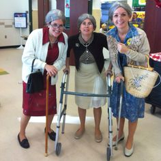 """The 100 year old ladies say, """"Happy 100th Day!"""""""