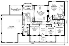 The adorable 1-story home's floor plan has 2041 square feet of living space and includes 3 bedrooms. #houseplan #openfloorplan Ranch House Plans, Cottage House Plans, Cottage Homes, Farmhouse Floor Plans, House Plans And More, Porch Area, Country Style House Plans, Room Planning, Coastal Homes