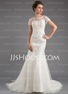 Wedding Dresses - $196.99 - Mermaid Scoop Neck Court Train Tulle Wedding Dress With Lace Beadwork (002035871) http://jjshouse.com/Mermaid-Scoop-Neck-Court-Train-Tulle-Wedding-Dress-With-Lace-Beadwork-002035871-g35871