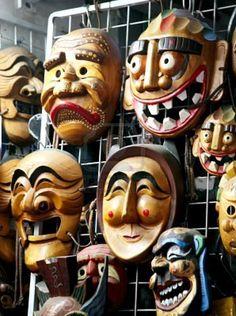 Wooden Hahoe Masks Korea