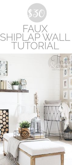 DIY shiplap wall tutorial all for under $30! DIY farmhouse decor and decorating ideas with shiplap or planked wall