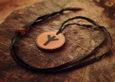Algiz rune necklace • Viking runes • Norse runes • Viking jewelry • Witch necklace • Pagan jewelry • Runic pendant • Wooden necklace • Runes by LoitsuCrafts on Etsy