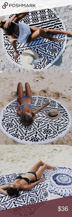 """🆕Black/White Print Round Beach Throw/Blanket Don't forget to grab this beautiful beach round blanket for those upcoming summer days! Micro fiber terry cloth blanket can be used as a beach throw, yoga mat and/or a tapestry! 61"""" x 61"""" 💯 Polyester.  . . . If you would like to make an offer, please use the OFFER BUTTON. {10% discount on all 2+ orders} . . FOLLOW US✌🏽️ Insta 📸: shop.likenarly Facebook📱: likenarly Website 🌐: likeNarly.com likeNarly Other"""
