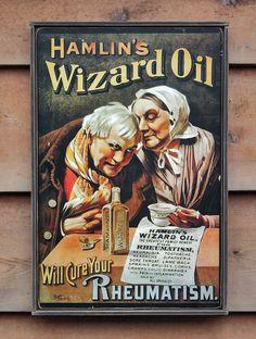 NEW Vintage wooden sign 'Hamlin's Wizard Oil' by VASSdesign