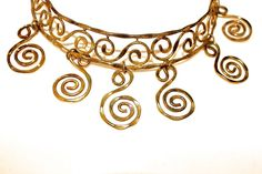 MUSEUM REPRODUCTION GOLD HAMMERED GREEK NECKLACE-HAND MADE WROGHT IRON #UNBRANDED