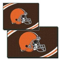 Free S/H NFL Cleveland Browns Two Piece Rectangular Rug Set