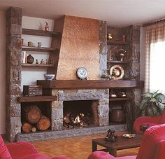 Risultati immagini per chimeneas rusticas Rustic Fireplaces, Modern Fireplace, Living Room With Fireplace, Fireplace Design, Living Room Decor, Pallet Fireplace, Traditional Fireplace, Cabin Interiors, Cabin Homes