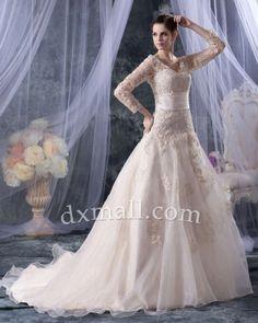 Drop Waist Wedding Dresses V-neck Chapel Train Organza Satin Champangne 010010700667