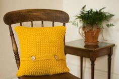 Mustard Yellow Cushion Cover, Accent Throw Pillow Cover, Textured Cushion, Crochet Cushion, New Home Gift, Bright Button Envelope Pillow