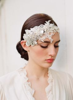 Floral bridal headpiece, rhinestones, lace headband - Embellished lace and rhinestone headpiece - Style 252 - Made to Order. $315.00, via Etsy.