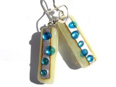 Turquoise Silver Fused glass earrings pendant by LiveInDesign, £17.00