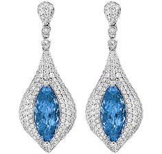Spark Creations Marquise Aquamarine Drop Earrings