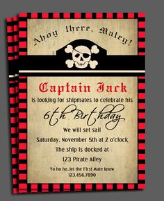Pirate Birthday Party: Pirate Invitation Printable  Swashbuckling Fun by ThatPartyChick, $15.00