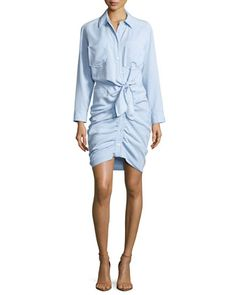 Sierra Ruched Chambray Mini Dress, Light Blue by Veronica Beard at Neiman Marcus.