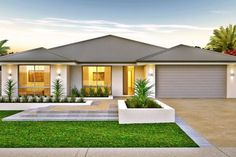 The Lisbon could work, activity to bed move office and bed 1 to theatre placement, House Layout Plans, Family House Plans, Dream House Plans, House Front Design, Modern House Design, Modern Bungalow House, Modern Bungalow Exterior, Front House Landscaping, Beautiful House Plans