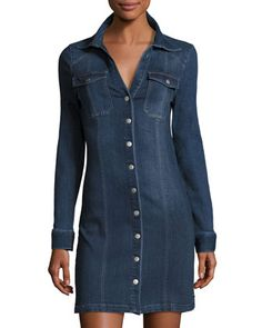 Denim Snap-Front Dress, Admiral Blue by Alexia Admor at Neiman Marcus Last Call.