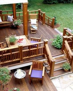 I like the multi-tiered concept..and the wood..and the end caps on the posts, and how part of the deck is covered while other parts are open. I guess I really do like this back deck. I would like more plants and add accessories for more character.