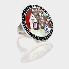 Smalto Enamel | Silver ring based on the works of G.Klimt #silver #handmade #enamel #enameling #hotenamel #cloisonne #jewelry #silverring