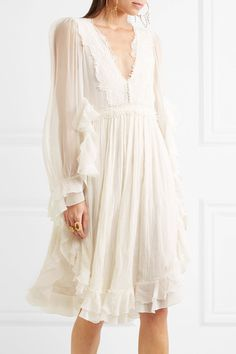 Chloé - Exclusive Ruffled Crocheted Lace-paneled Silk-crepon Mini Dress - White - FR40
