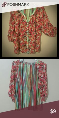 Boho blouse Fun floral and stripes, bi level bohemian blouse  3/4 sleeve, marked 3X but fits more like a 2X. Multi colored......pink, red, yellow, greens...... fig and flowers Tops Blouses