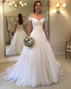 2019 New Elegant A-line Floor Length Tulle Dress Featuring Off-The-Shoulder Neckline With Pleated,Zipper Back. Perfect For Wedding,Summer Wedding Or Any Other Special Occasions ! Colors Available in :White/Ivory/Burgundy/Champagne Size Chart: Dresses Process Time: 10 to 14 days Customized :Yes Shipment Method: #weddingdress Wedding Rehearsal, Cheap Wedding Reception, Simple Beach Wedding, Simple Wedding Gowns, Amazing Wedding Dress, Wedding Summer, Long Wedding Dresses, Cheap Wedding Dress, Amazing Weddings