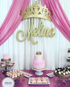 Extremely appealing Princess Birthday Party Ideas for Busy Moms Princess Birthday Party Decorations, Princess Theme Birthday, 1st Birthday Party For Girls, Baby Party, Baby Birthday, Birthday Parties, Pink Princess Party, Baby Shower Themes, Baby Shower Decorations