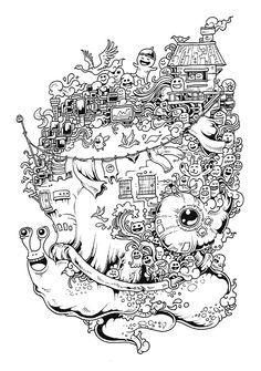 Doodle Invasion Coloring Book by Kerby Rosanes, via Behance Monster Coloring Pages, Coloring Book Pages, Printable Coloring Pages, Les Doodle, Doodle Art, Line Art Images, Line Art Vector, Jr Art, Doodles