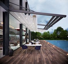 Rain or shine, this pergola retractable roof system is perfect to enjoy the outdoors. Repin to your own inspiration board! #pergola #outdoorliving #homedesign #restaurantdesign