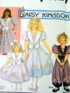 Simplicity Daisy Kingdom Childrens Sewing Pattern 7698 Dress Romper Girl Child Size 3-5