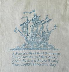Vintage Cross Stitch Embroidery Piece Ship