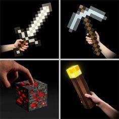 197. Minecraft Fan Bundle - Sword, Pickaxe, Torch, Redstone Nightlight. -------------------------- Key: Minecraft, Products, Geeky