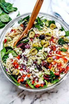 This vegetarian Mediterranean orzo pasta salad with crunchy vegetables, spinach, briny olives, and feta makes a healthy, meal-prepped or party pasta salad. Chicken Salad Recipes, Healthy Salad Recipes, Vegetarian Recipes, Cooking Recipes, Kitchen Recipes, Pasta Recipes, Dinner Recipes, Mediterranean Diet Recipes, Mediterranean Dishes