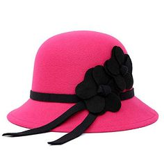 084bf67441a ChenXi Store Women Vintage Style Wool Cloche Bucket Winter Hat with Satin  Flower – Caps   Hats for Everyone