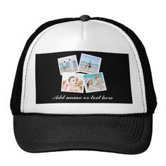 ed25a447e4c44  Personalized 4-Photo Custom Black and White Trucker Hat -  birthday  gift