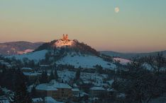 Sunset photography, landscape, photography, moon, UNESCO, historical city, Calvary