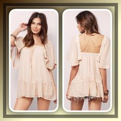 """Adorable flouncy tunic top Pretty boho tunic top features flouncy sleeves and hem, square neckline, crochet lace detailing..Length: front:29"""" back:33"""" bust:34"""" waist 25"""" hips:36"""" Tops Tunics"""